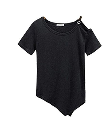 Forlisea Womens Solid Off Shoulder Strap Cotton T Shirt - Black Picture Guy Ok