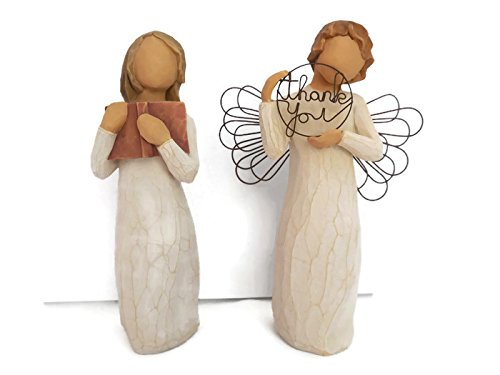 Willow Tree Just for You Angels Figurines Bundle With Love of Learning Statue. Best Easter, Birthday, Thank You, Appreciation Gifts for Teacher, Friends, Coworker - Friend Statue