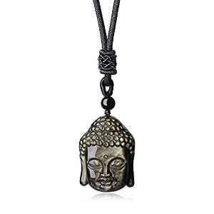 COAI Collar con Colgante Amuleto Buda de Protección de Obsidiana de Oro