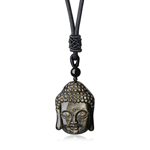 71f0135054d78d AmorWing Golden Obsidian Buddha Head Prayer Amulet Stone Pendant Necklace