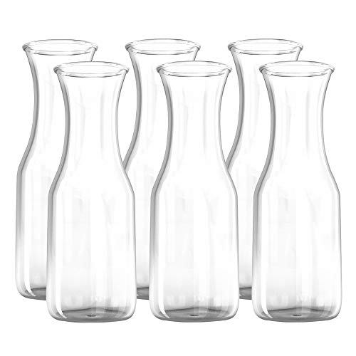 34 oz Glass Carafe - 6 Pack - Drink Pitcher and Elegant Wine Decanter, Comfortable Grip with Narrow Neck Design, Wide Opening for Easy Pouring - Great for Parties and Events - Kitchen Lux