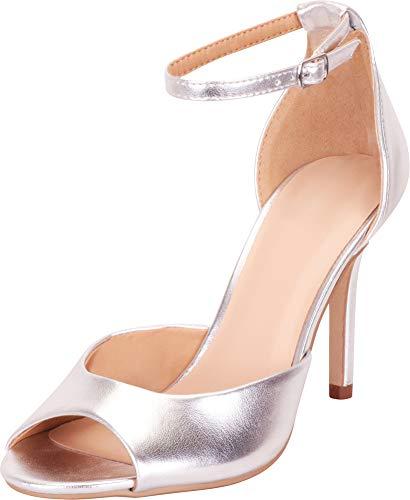 Cambridge Select Women's Classic Open Toe Ankle Strap Stiletto High Heel Sandal,7.5 B(M) US,Silver PU