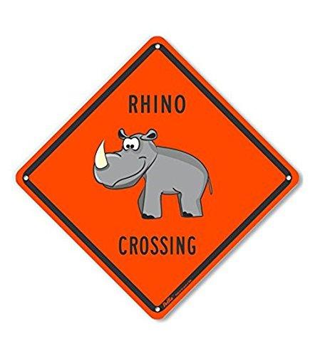 PetKa Signs and Graphics PKAC-0399-NA/_10x10Rhino Crossing Aluminum Sign 10 x 10