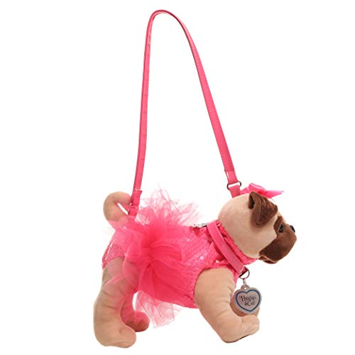 Poochie Girls Plush Handbag Pug with Neon Pink Sequins and Tutu with Patent Strap