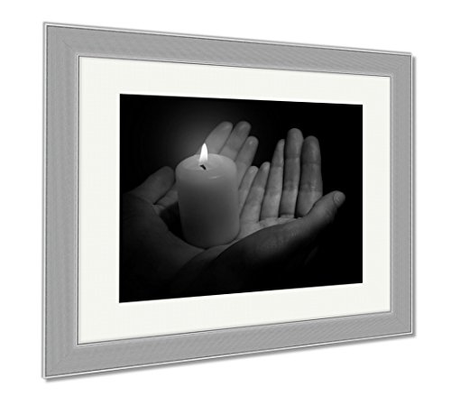 Ashley Framed Prints Burning Candle In Hands Isolated On Black, Contemporary Decoration, Black/White, 26x30 (frame size), Silver Frame, AG6514333 by Ashley Framed Prints