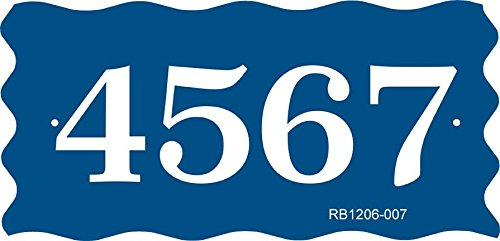 Address Plaque - Address Sign With Scalloped Edges - Displays Your House Number - Choose Color: Black, White, Blue, Brushed Gold, Brushed Stainless, Yellow, Red, and Green - RB1206007 by Comfort House