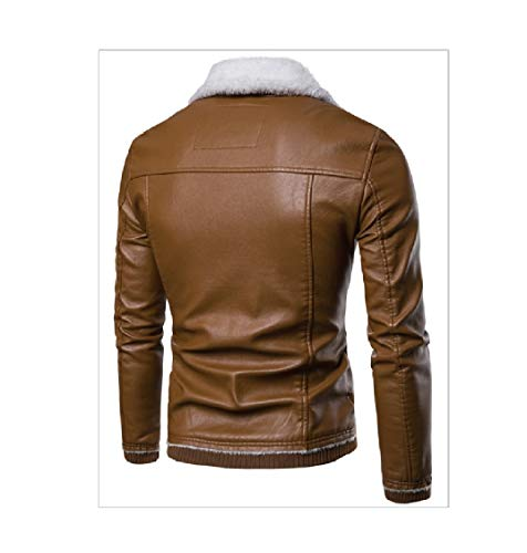 Thickening Down Solid Turn Jackets Collar Energy Leather Plus PU Men's 1 Leisure Velvet H8qxwaIY