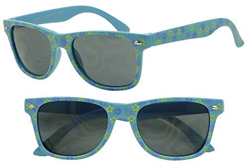 Sunglass Stop- Kids Fun Party Wayfarer Colorful Star Sunglasses Costume Shades - Clubmaster Rayband