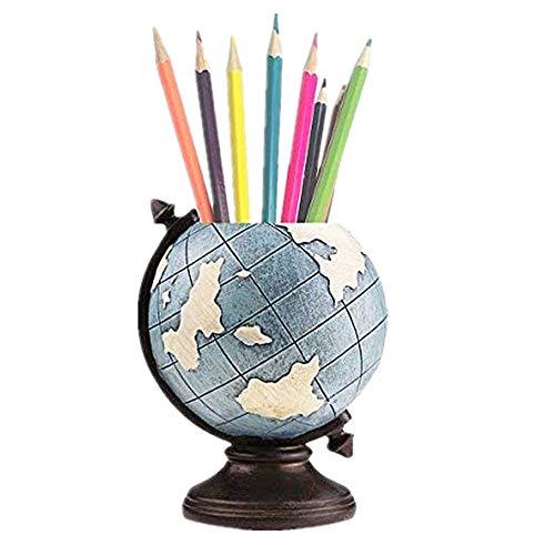 MUAMAX Globe Pen Pencil Pot Holder Desk Organizer Home Office Pen Storage Container Kids Men Gifts Vintage Retro Decoration (Globe Office Desk)