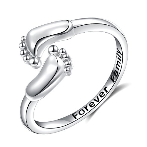 (LINLIN FINE JEWELRY Baby Feet Ring 925 Sterling Silver Forever Family Engraved Mother's Love Cute Adjustable Open Ring Gift for Women, Size 7)