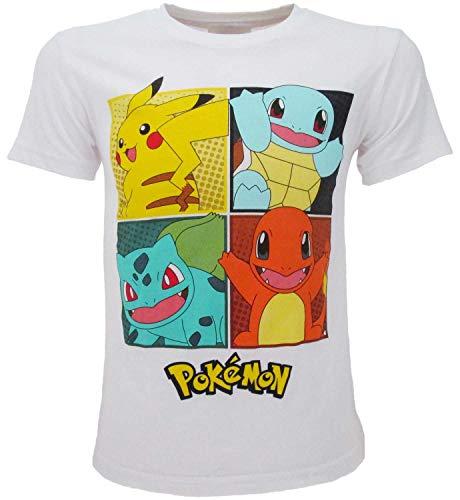 Pokémon T-shirt Original, wit, 4 personages Pikachu officieel T-shirt, voor jongens