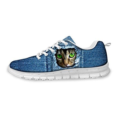 För U Designar Mode Katttryck Man & Kvinna Ventilerande Mesh Löparskor Gymnastiksko Blå Katt B5