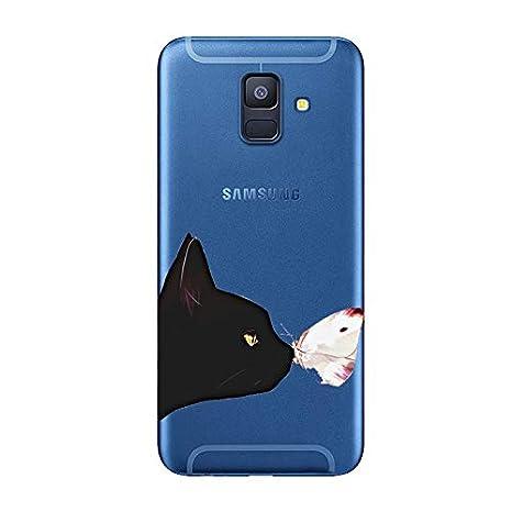 TPU Anti-Rasgu/ño Anti-Golpes Cover Protectora Transparente Claro Caso Slim Silicona Case Le/ón Mirando al Cielo Aksuo Funda For Samsung Galaxy A6