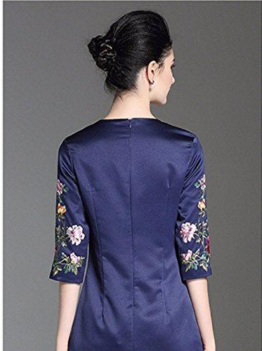 Cotylédons Robes De Fête Formelle Pour Les Femmes À Encolure Dégagée Col Manches 3/4 Slim Robes Courtes Bleu