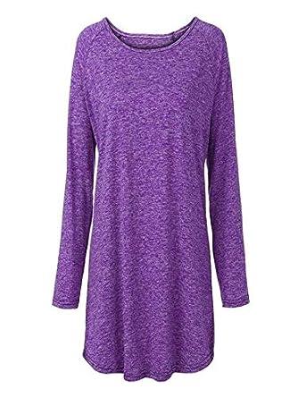 MERICAL Le Donne Plus Size Solido di Colore della Camicetta del Manicotto RounLong Pullover Camicia delle Parti Superiori