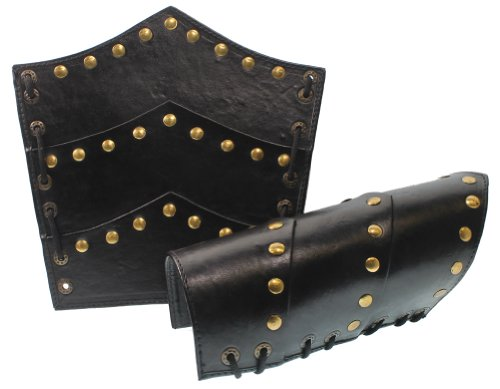 RedSkyTrader Mens Roman Leather Arm Guards with Brass One...