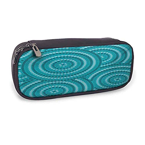 Soft Pencil Bag Teal Easy to Carry Abstract Aboriginal Tradition Dot Painting Australian Indigenous Folk Artwork Circle Shapes,3.5 x 8 x 1.5 Inches Teal from QIAOQIAOLO