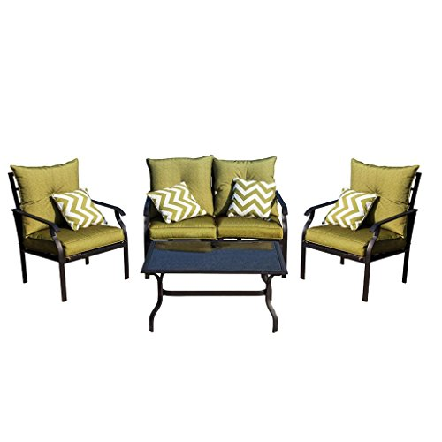 HP95 Balcony Patio Garden Furniture Set 4,Furniture Armchair 4 Seater with Cushions and Coffee Table,US Warehouse (Style (4 Seater Patio Set)