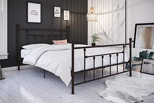 (DHP 3236238 Manila Bed with Victorian Style Headboard and Footboard with Metal Slats Queen Bronze)