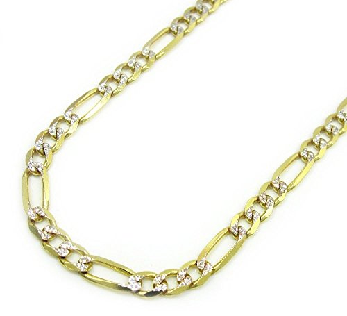 (Jawa Jewelers Figaro Chain 14k Multi-Tone Gold Pave Necklace Links 2.5 mm (20))