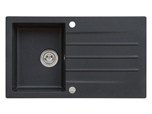 Einbau Granitspüle MOJITO 100 für 45er U-Schrank Küchenspüle 86 x 50 cm (SCHWARZ)