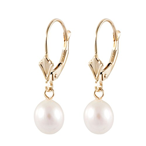 Handpicked AAA+ 6.5-7mm White Rice Freshwater Cultured Pearls in 14K Yellow Gold Fleur De Lys Lever-back Dangling Earrings ()