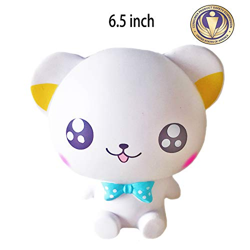 Dialeesi Squishies Slow Rising Jumbo Cute White Bear - Kawaii Squeeze Toy Pack 6.5 inch | Soft and Cream Scented Stress Reliever for Kids