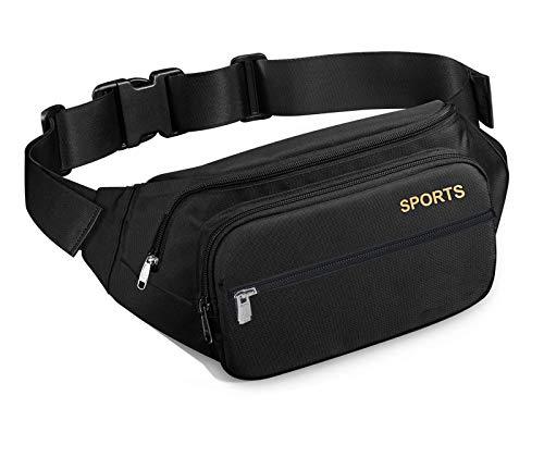 AMBITO Bauchtasche,Gürteltasche Wasserdicht, 4 Pocket Multifunktionale Hüfttasche mit Reißverschluss Geeignet für Reise…