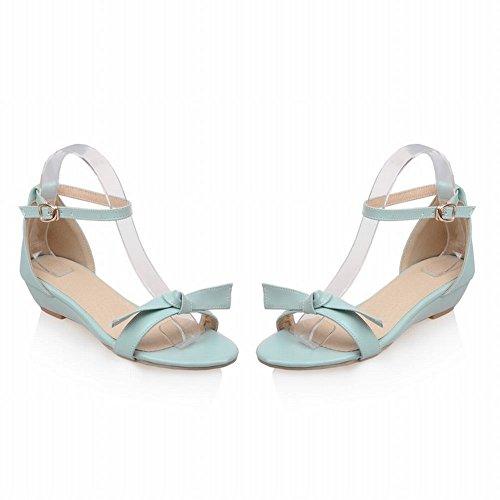 Carolbar Womens Buckle Ankle Strap Summer Sweet Bows Simple Low Heel Sandals Blue OgIIzl3