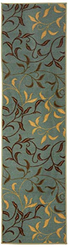 "Ottomanson Otto Home Contemporary Leaves Design Modern Runner Rug with Non-Skid Rubber Backing, Sage Green/Aqua Blue, 22"" L x 84"" W"