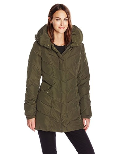 Steve Maddens Womens Packable Winter Chevron Fleece Lined Puffer Coat with Hood - Olive (Size S)