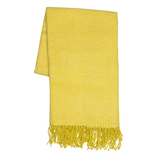Sova Decorative Soft Indoor / Outdoor Throw Blanket (50' x 60', Citrus/Lime Yellow) | Perfect for Beach Picnic Travel Everyday Use on Couch Bed Sofa Wrapped with Ribbon