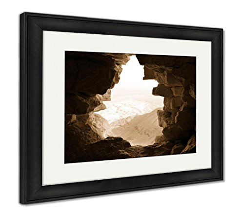 Ashley Framed Prints Ancient Stone Window Of Masada Fortress In Israel Travel Nature Architecture, Wall Art Home Decoration, Sepia, 26x30 (frame size), Black Frame, AG5834449 - Ancient Stone Frame