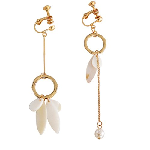 Screw Back Clip on Earring Asymmetry Clip for non Pierced Drop Dangle Shell Feather Shaped Tassel Women