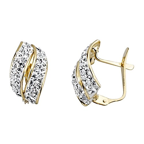 Boucled'oreille 18k or zircons feuille bicolor [AA5143]