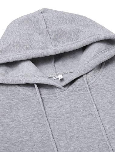up Lace Stylish Grey Women Long Jaycargogo Sleeves Dresses Pockets Hooded XxOapqw