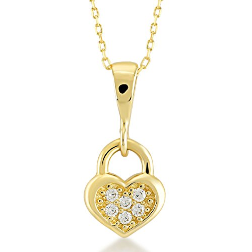 Gelin 14k Real Gold Heart Key Lock Pendant Necklace with Cubic Zirconia for Women, 18 Inc