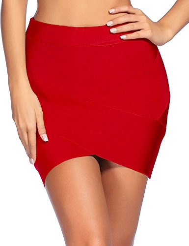 (iFashion Women's Sexy Rayon Bandage Bodycon Party Mini Skirt X-Small Red)