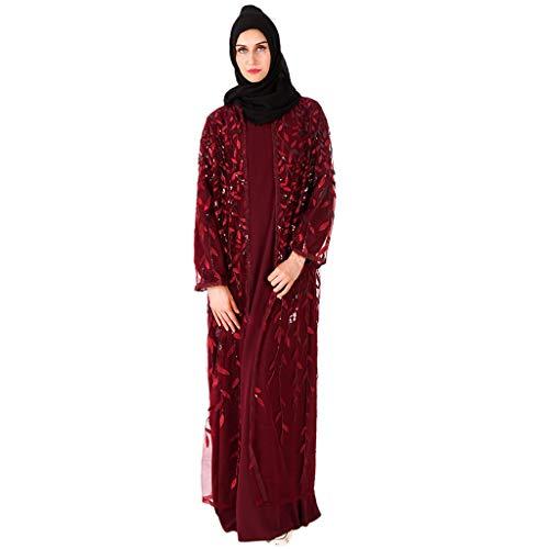 Lunga Donna Etnica Rosso Pizzo Abito Casuale Vino Lungo Dress Musulmano polpqed Estate Ricamo Vestito Manica Cardigan Semplice Xn0w8OkP