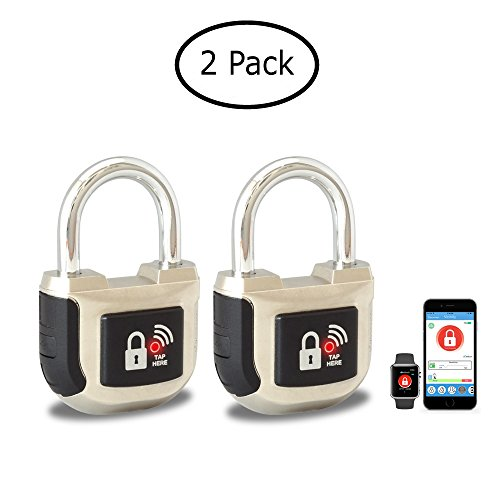 eGeeTouch Smart Padlock 2nd Gen UPGRADED with Patented DUAL Bluetooth + NFC Technologies for Smartphones & Watch (2 Pack Silver) by eGeeTouch