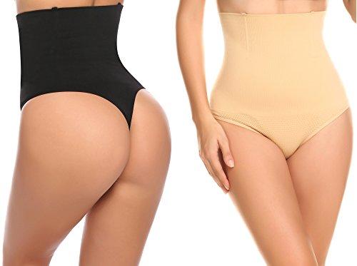 Ceesy Women's High Waist Thong Shapewear Tummy Tucker Waist Trainer 2 Pack, M