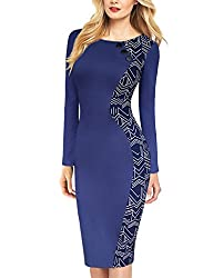 Vfemage Women Elegant Asymmetrical Geometric Print Button Wear to Work Dress 2605 Blue 16