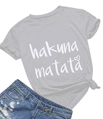 Women's Hakuna Matata T-Shirt Cute Letter Print Short Sleeve Tee Top Funny Graphic T-Shirt (M, -