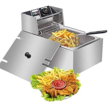 FROTH & FLAVOR Stainless Steel Electric Deep Fryer (Silver) 6 Litre with Copper Element 9