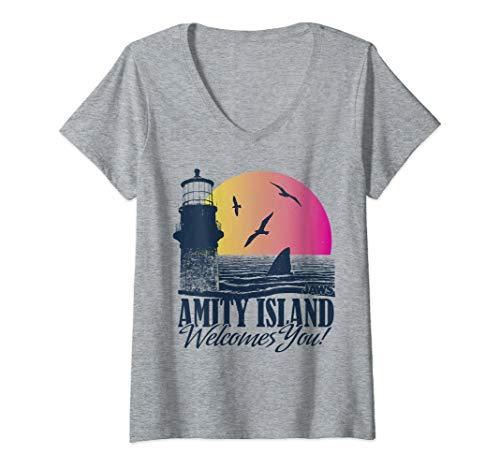 Womens Jaws Amity Island Welcomes You Lighthouse Sunset Portrait V-Neck T-Shirt
