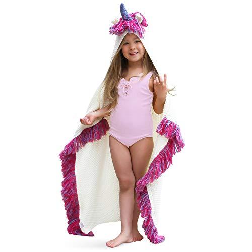 Born Hoody - Born To Unicorn Majestic & Wearable Hooded Unicorn Throw Blanket with Horn & Fringe | Child & Adult Sizes | Hypoallergenic & Machine-Washable | Kids - Purple, Pink/Purple Fringe