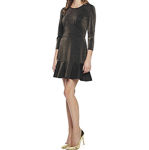 Juicy Couture Womens Glitter - Juicy Couture Black Label Womens Gold Glitter Flounce Fit and Flare Dress Sz XL