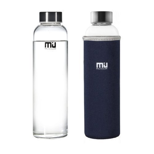 Small Navy Color (MIU COLOR Borosilicate Glass Water Bottle , 18.5oz without Tea infuser, Dark Blue Sleeve )
