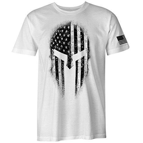 - USA American Spartan Molon Labe Patriotic Men's T Shirt (White, 3XL)