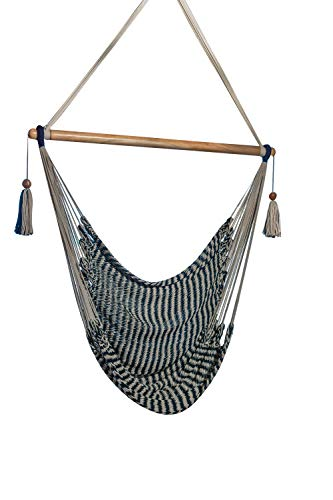 Handmade Hanging Rope Hammock Chair - 100% Handmade with Organic Cotton Swing Seat (Nautical)
